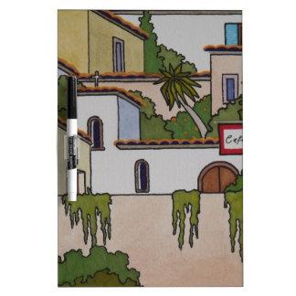 Spanische Kirche und Häuser Trockenlöschtafel