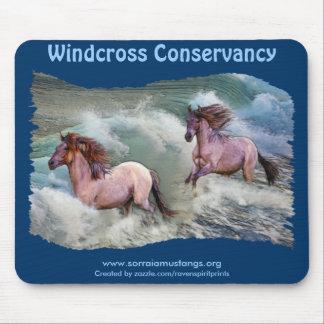 Spanische Mustang-Pferde u. Strand-Brandung Mousepads