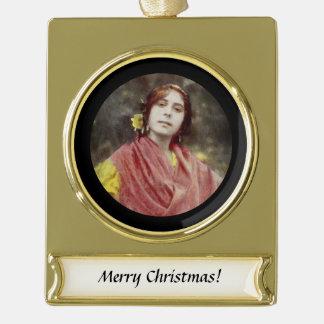 Spanische Sinti und Roma-Frau Banner-Ornament Gold
