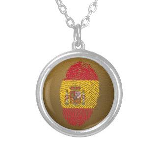 Spanische Touchfingerabdruckflagge Halskette Mit Rundem Anhänger