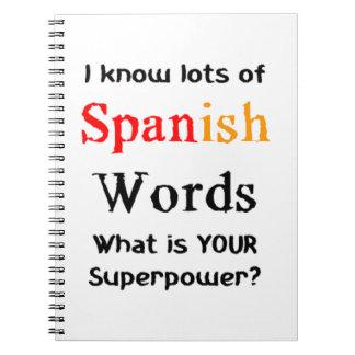 spanische Wörter Notizblock