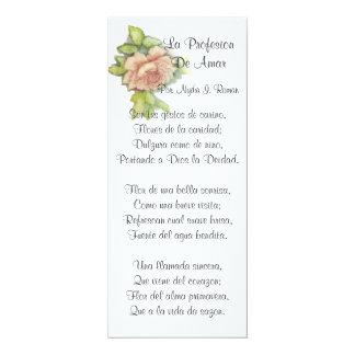 Spanischen St.-Valentinsgrußes Gedicht-Fertigen 10,2 X 23,5 Cm Einladungskarte