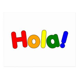 Spanischer Regenbogen hallo: Espanol Iris Hola Postkarte