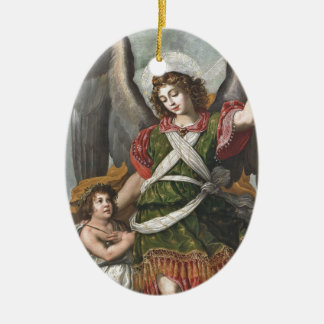 Spanischer Schutzengel und Kind Ovales Keramik Ornament
