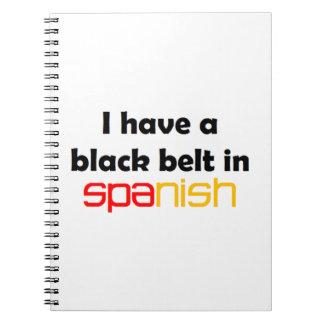 Spanischer schwarzer Gürtel Spiral Notizblock