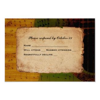 Spanisches Gitarren-Musik-grünes Goldrot UAWG 8,9 X 12,7 Cm Einladungskarte