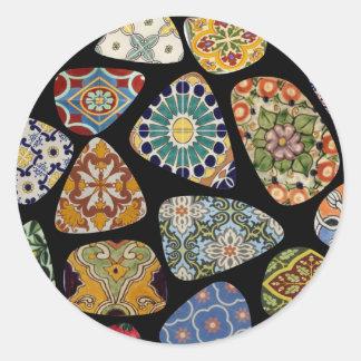Spanisches u. mexikanisches Fliesen-Mosaik Runder Aufkleber