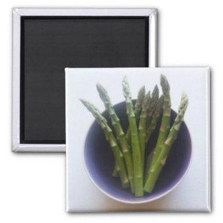 Spargel in einem Keramikschüssel-Bildmagneten Quadratischer Magnet