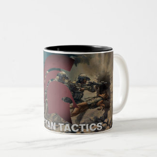 Spartanische Taktik-Tasse mit Art. Zweifarbige Tasse