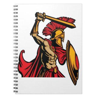 Spartanischer Kriegers-gewundenes Notizbuch Notizblock