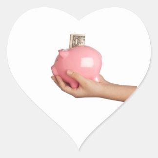 Sparungen in der piggy Bank Herz-Aufkleber