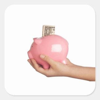 Sparungen in der piggy Bank Quadratischer Aufkleber
