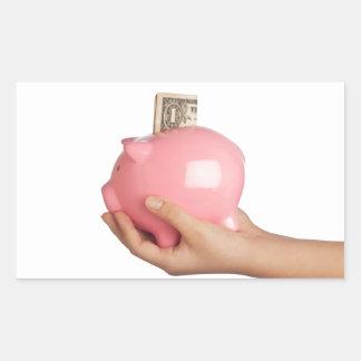 Sparungen in der piggy Bank Rechteckiger Aufkleber