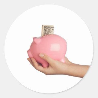 Sparungen in der piggy Bank Runder Aufkleber