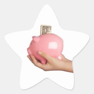 Sparungen in der piggy Bank Stern-Aufkleber