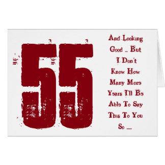 Spaß, 55. Geburtstags-, Roter und weißertext Karte