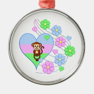 Spaß-Affe-Herz Silbernes Ornament