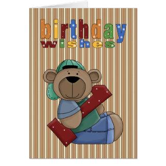 Spaß-Bärn-erster Geburtstag wünscht Karte