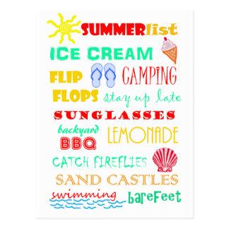 Spaß-bunte helle Sommer-Liste Postkarte