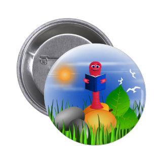 Spaß-bunte niedliche Bücherwurm-Buch-Wurm-runde Runder Button 5,7 Cm