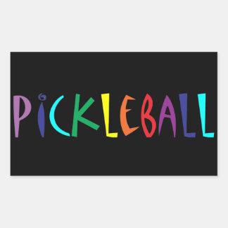 Spaß bunte Pickleball Briefgestaltung Rechteckiger Aufkleber