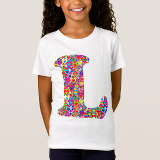 Spaß buntes dynamisches Herz gefülltes L Monogramm T-Shirt