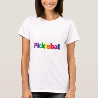 Spaß buntes Pickleball beschriftet Kunst T-Shirt