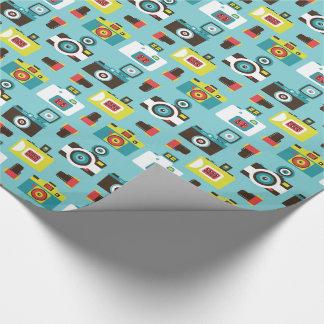 Spaß buntes Retro Lomo Kamera-Muster (blau) Geschenkpapier