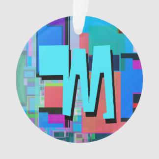 Spaß-buntes Türkis-Blau-geometrisches Monogramm Ornament