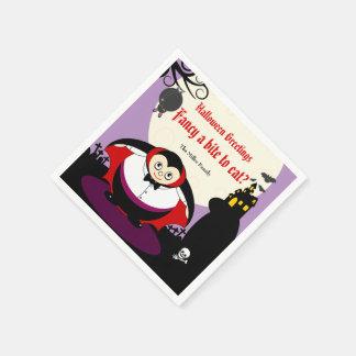 Spaß-Cartoon Halloweenvampire Dracula-Szene, Papierserviette