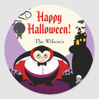 Spaß-Cartoon Halloweenvampire Dracula-Szene, Runder Aufkleber