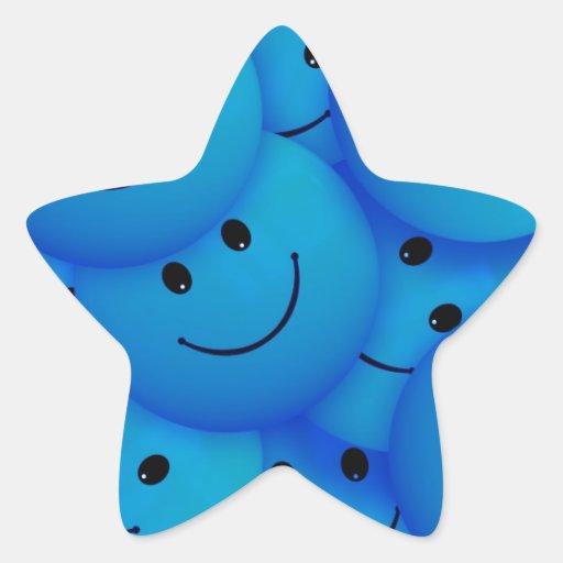 Spaß-coole glückliche blaue Smiley Stern Aufkleber
