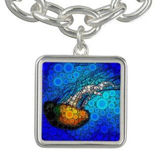 Spaß, der orange Quallen in der Ozeankreiskunst Charm Armband