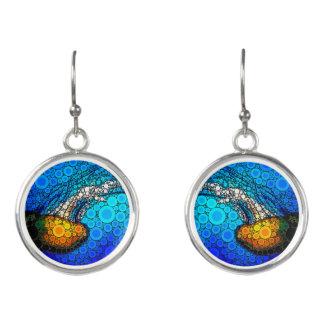 Spaß, der orange Quallen in der Ozeankreiskunst Ohrringe