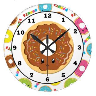 Spaß-Donut-Shop-Muster-Wanduhr Große Wanduhr