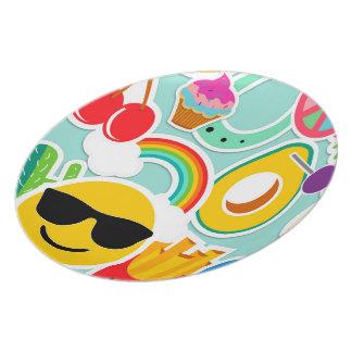 Spaß Emoji Aufkleber Pattwern Teller