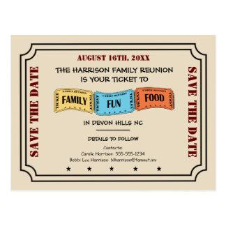 Spaß-Familien-Wiedersehen-Karte zu Save the Date Postkarte