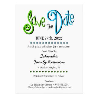 Spaß-Familien-Wiedersehen oder Party Save the Date Postkarte