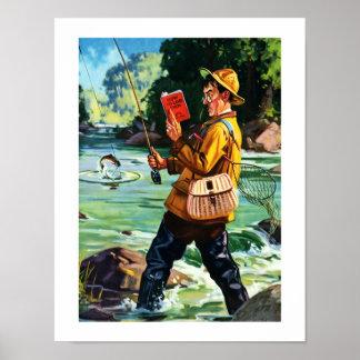 Spaß-Fischen-Szenen-Vintager Kunst-Druck Poster