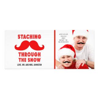 Spaß-frohe Weihnacht-Schnurrbart-Foto-Karte Personalisierte Ankündigungskarte