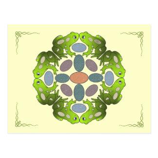 Spaß-Frosch-Mandala Postkarte