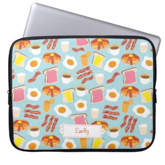 Spaß-Frühstücksnahrung-Illustrations-Muster Laptop Sleeve