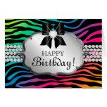 Spaß-Geburtstags-Kartezebra-Regenbogen-Schmuck Karte