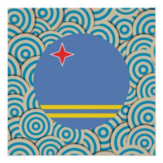 Spaß gefüllt, runde Flagge von Aruba Poster
