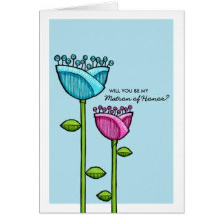 Spaß-Gekritzel-Blumen-blaue rosa Matrone der Ehre Karte