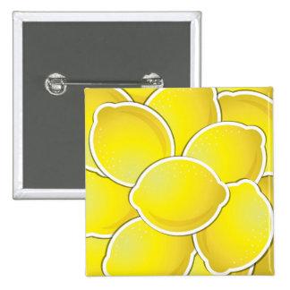 Spaß-gelber Zitronen-Entwurf Quadratischer Button 5,1 Cm