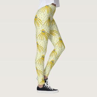 Spaß-gelbes Kraken-Schwimmen-Muster Leggings
