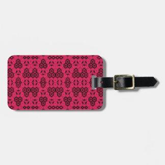 Spaß-geometrisches Muster-mutiges rosa und schwarz Kofferanhänger