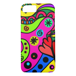 Spaß-Girly Gekritzel-Entwurfs-rosarotes Gelb iPhone 8/7 Hülle