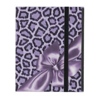 Spaß-Girly lila Leopard-Druck iPad Etui